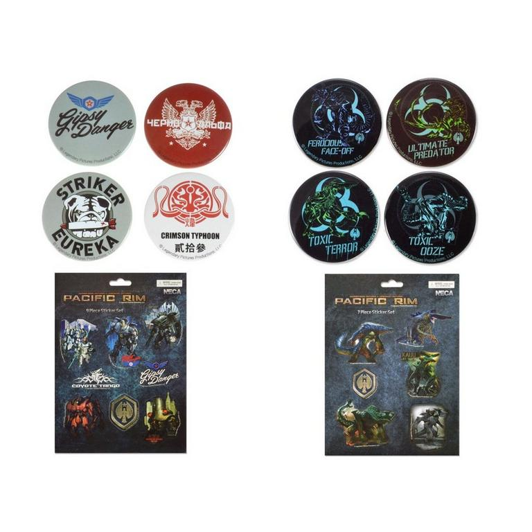 Pacific Rim Kaiju and Jaeger Pin and Sticker Bundle