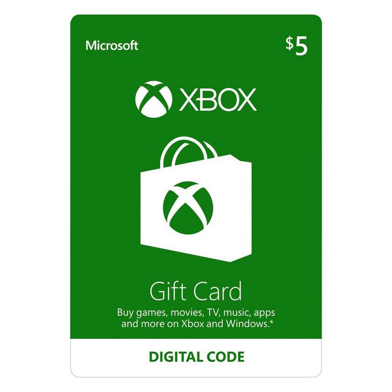 Microsoft Digital Xbox Gift Card $5 Xbox One Download Now At GameStop.com!