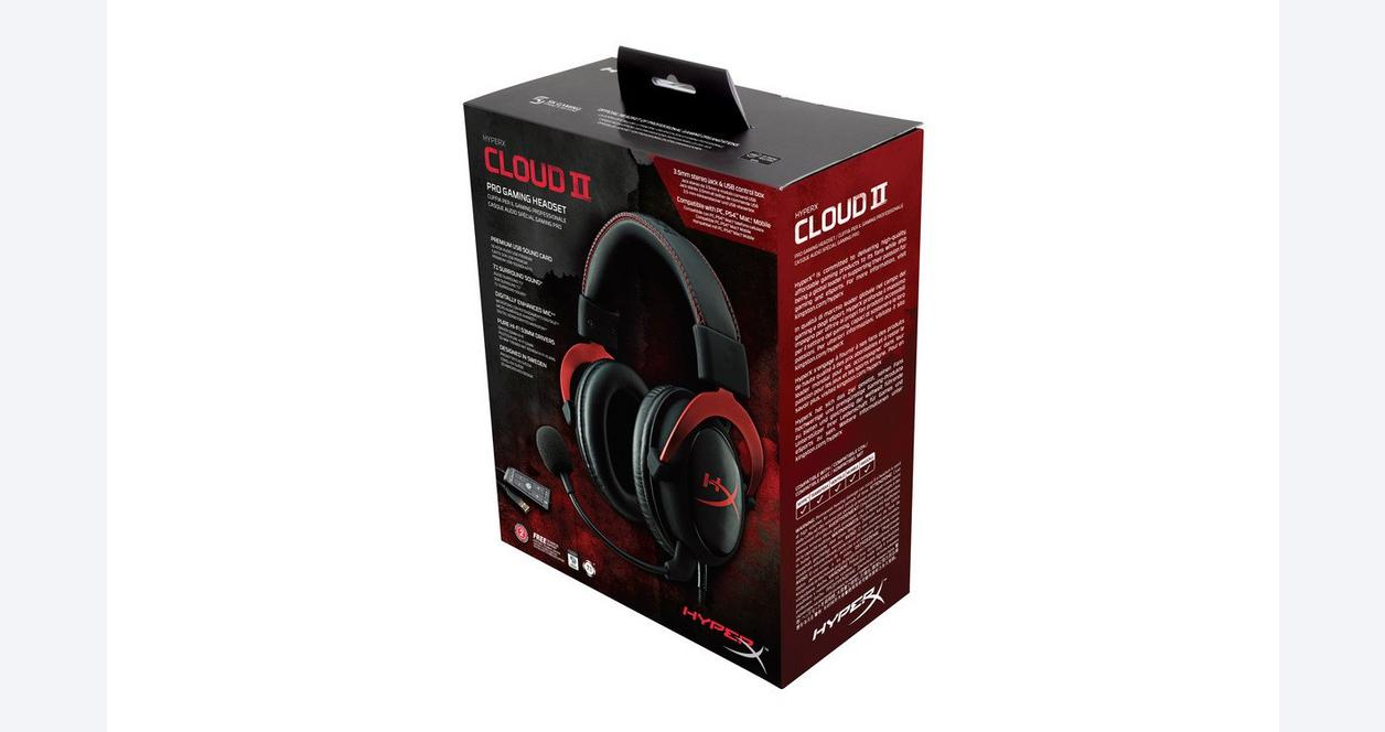 Cloud II Pro Red Wired Gaming Headset