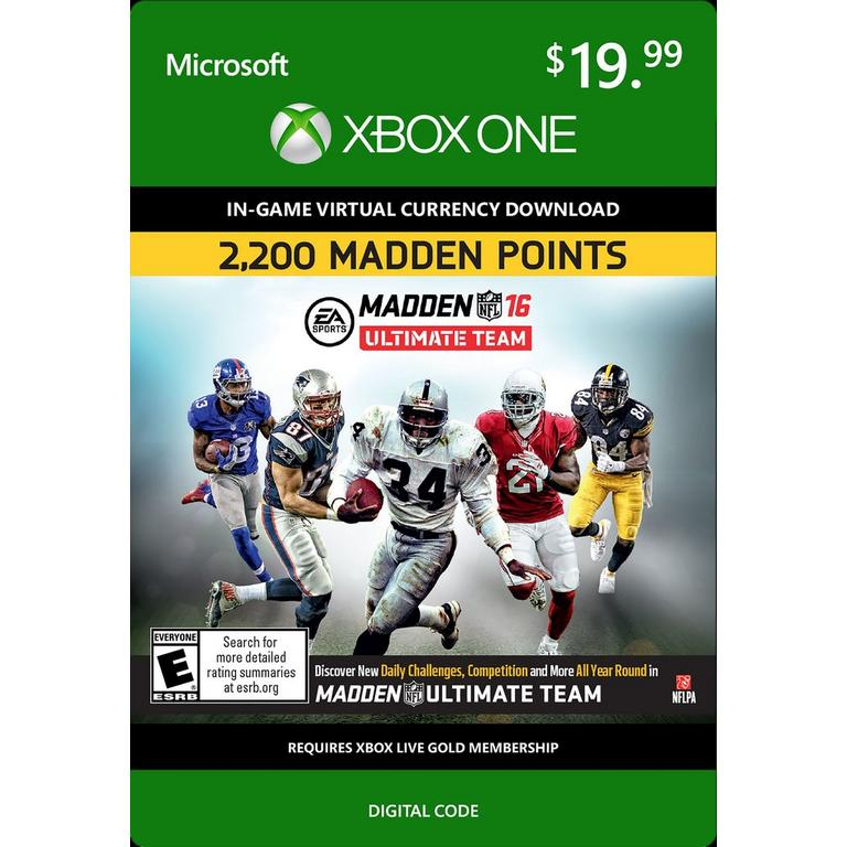 Madden NFL 16 Ultimate Team 2,200 Madden Points