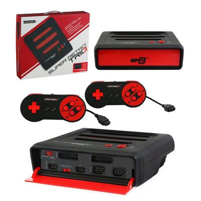 Super RetroTRIO Console NES/SNES/Genesis 3-In-1 System - Red/Black