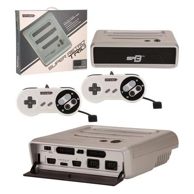 Super RetroTRIO Console NES/SNES/Genesis 3-In-1 System - Silver/Black