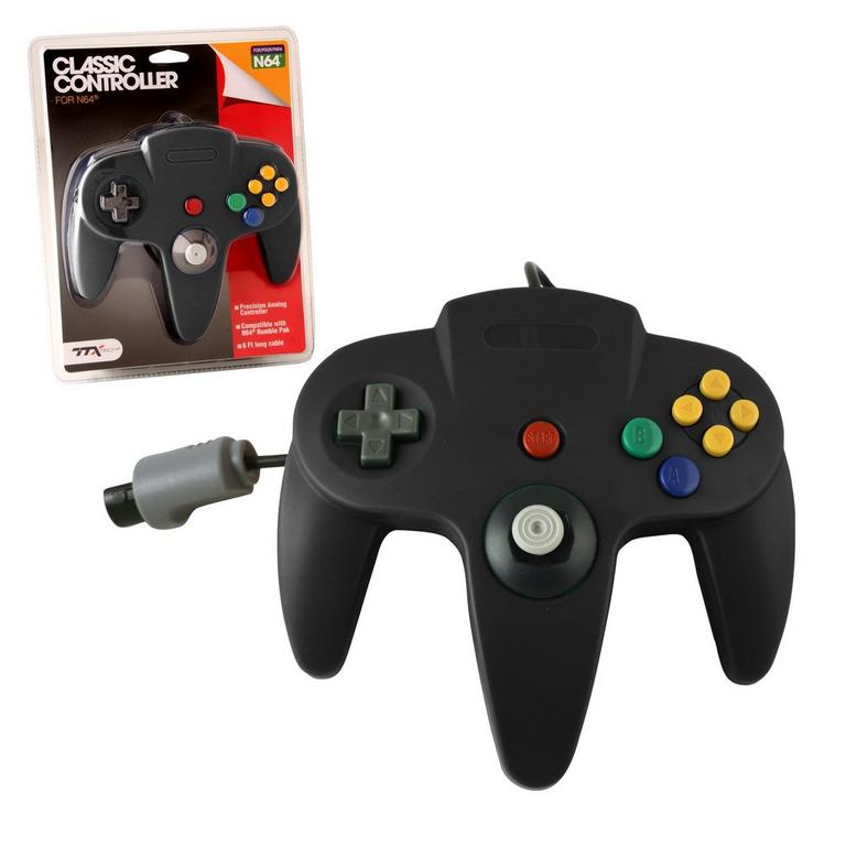 Black Wired Classic Controller for Nintendo 64