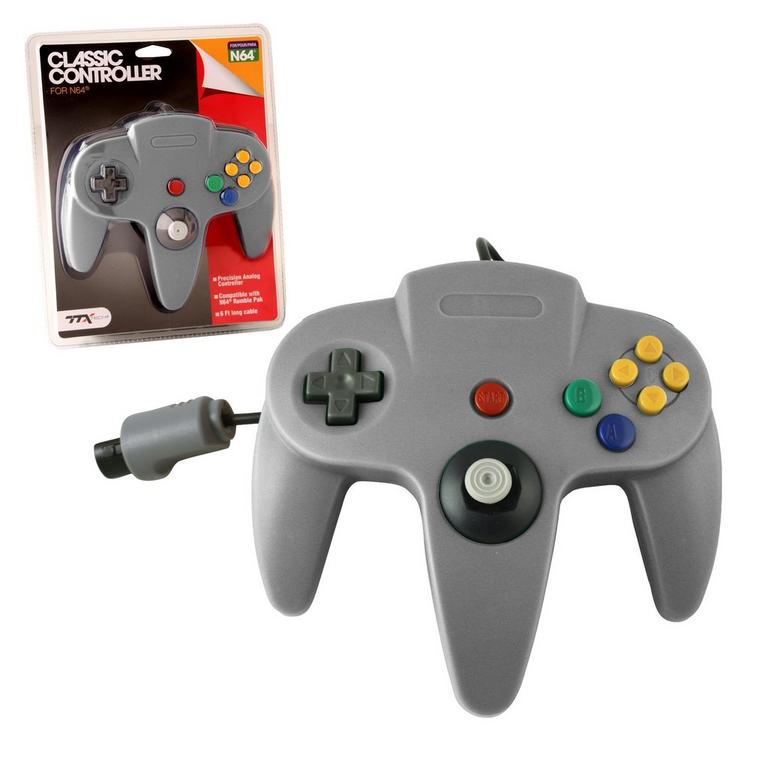 Gray Wired Classic Controller for Nintendo 64