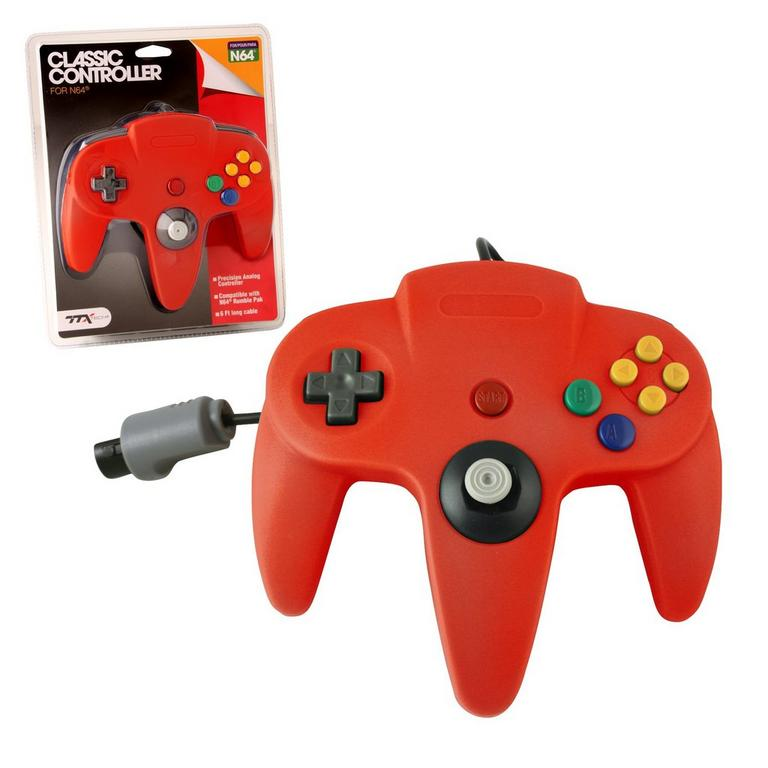 Red Wired Classic Controller for Nintendo 64