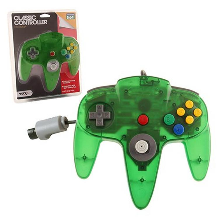 Clear Green Wired Classic Controller for Nintendo 64