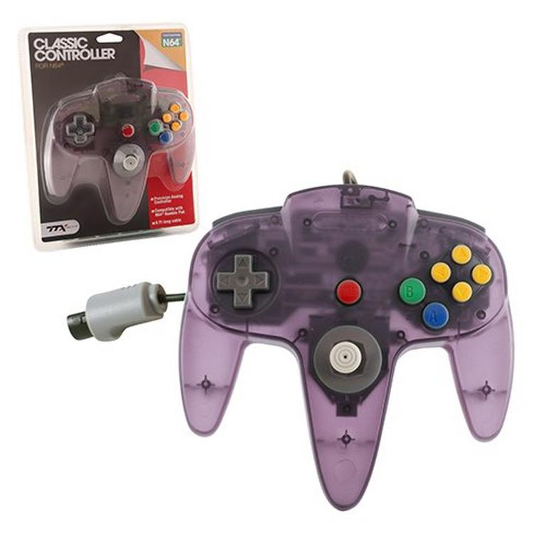 Clear Purple Wired Classic Controller for Nintendo 64