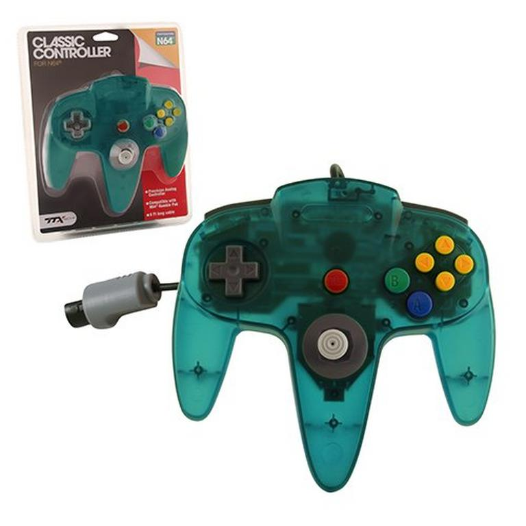Clear Teal Wired Classic Controller for Nintendo 64