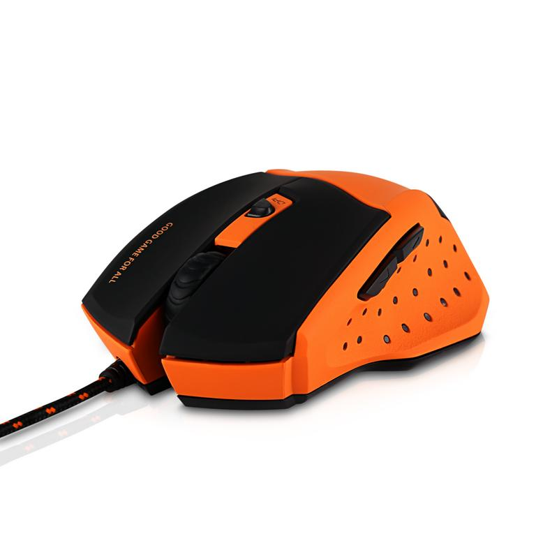 V7 Professional Orange and Black Wired Gaming Mouse