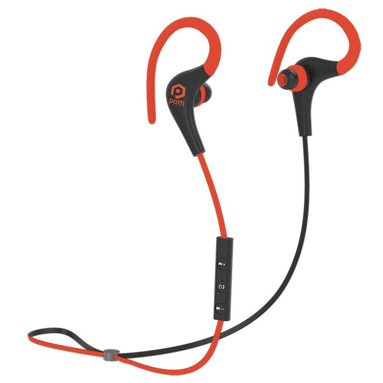 POM Gear Basik Sport Premium Secure Fit Wireless Earbuds - Red/Black