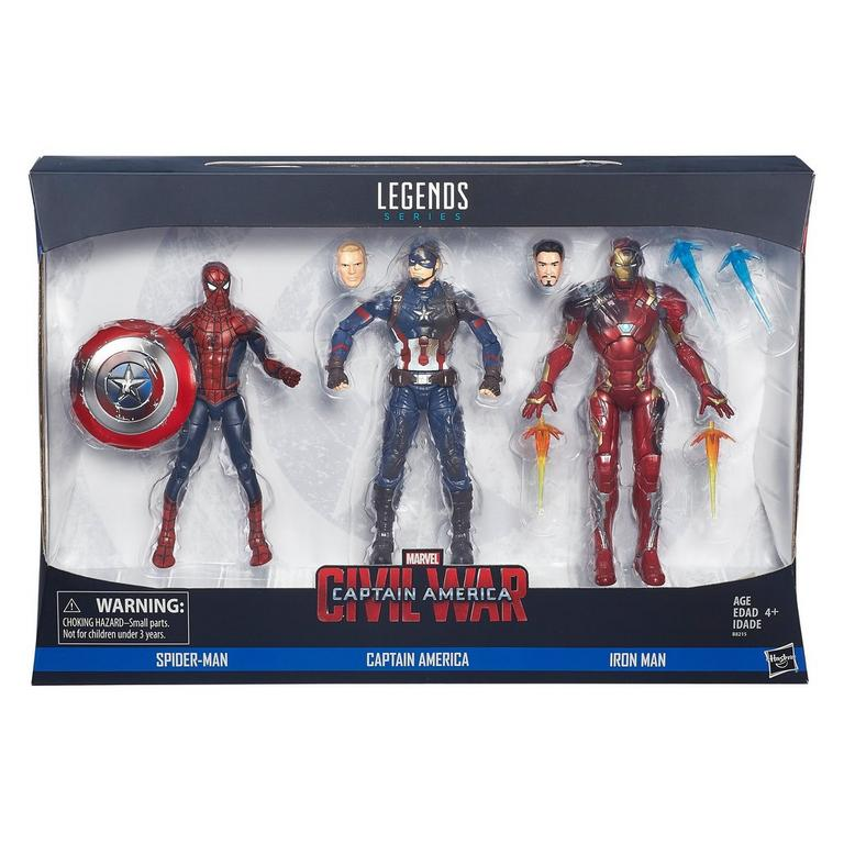 Marvel Legends Series Spider-Man, Captain America, and Iron Man Action Figure 3 Pack