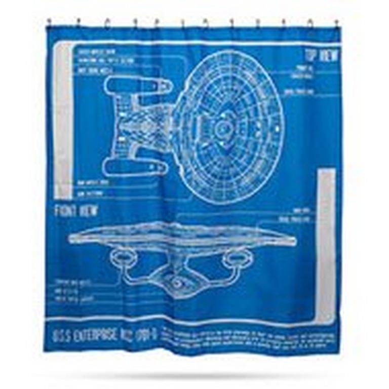 Star Trek TNG Enterprise Blueprint Shower Curtain