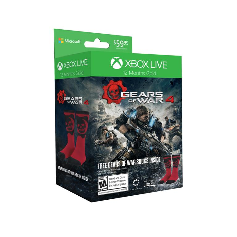 12-Month Xbox Live Gold Membership with Gears of War 4 Socks Only at GameStop