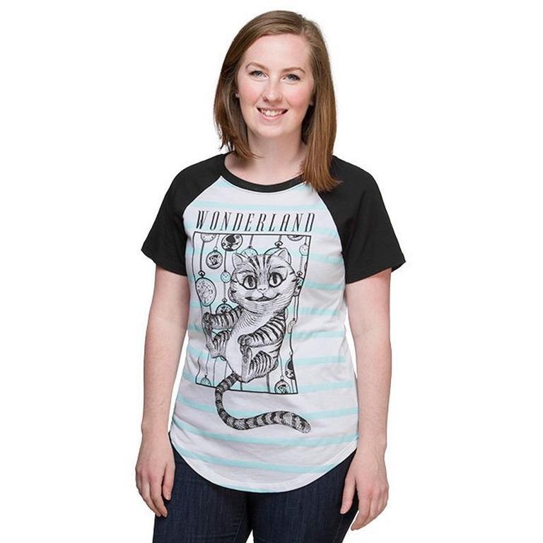 Alice in Wonderland Cheshire Raglan Stripe Ladies T-Shirt