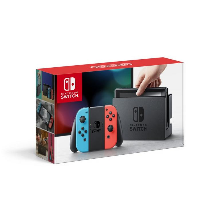 Nintendo Switch Console with Neon Blue and Red Joy-Con