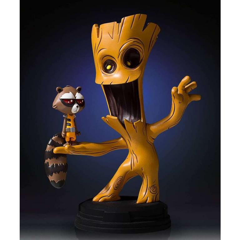 Guardians of the Galaxy Groot and Rocket Animated Statue