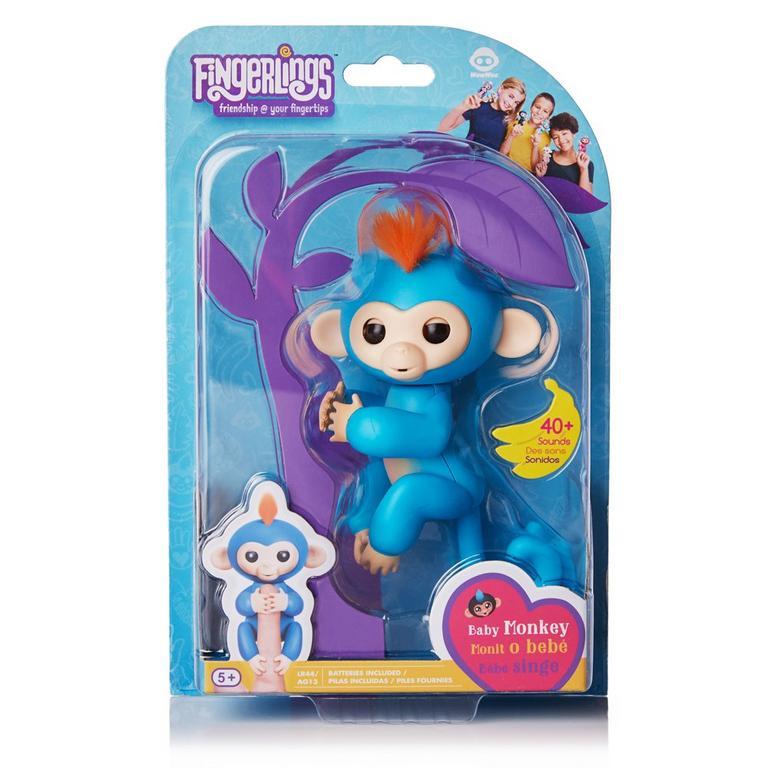 Fingerlings: Interactive Baby Monkey - Boris (Blue with Orange Hair)