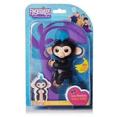 Fingerlings: Interactive Baby Monkey - Finn (Black with Blue Hair)
