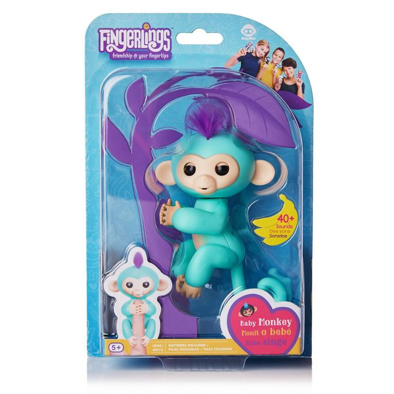Fingerlings: Interactive Baby Monkey - Zoe (Turquoise with Purple Hair)