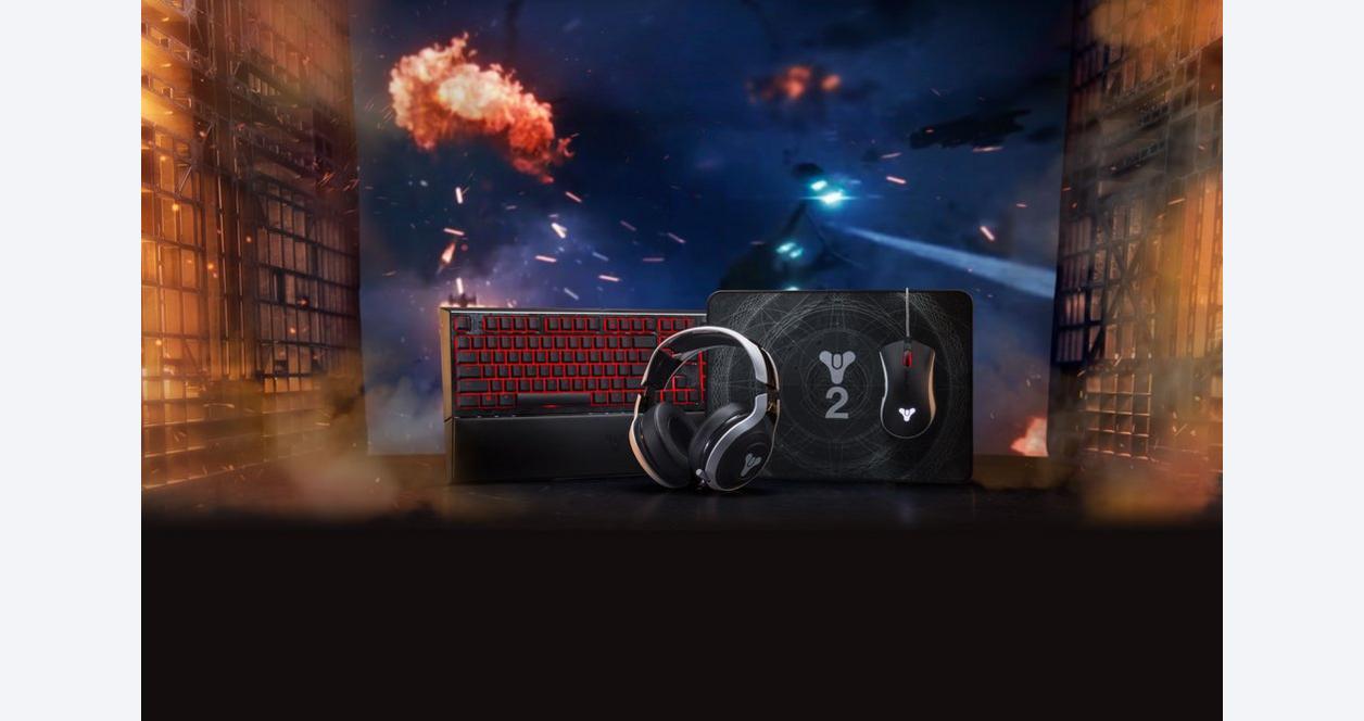 Razer Destiny 2 Ornata Chroma - Mecha-Membrane Chroma Enabled RGB Ergonomic Gaming Keyboard with Wrist Rest