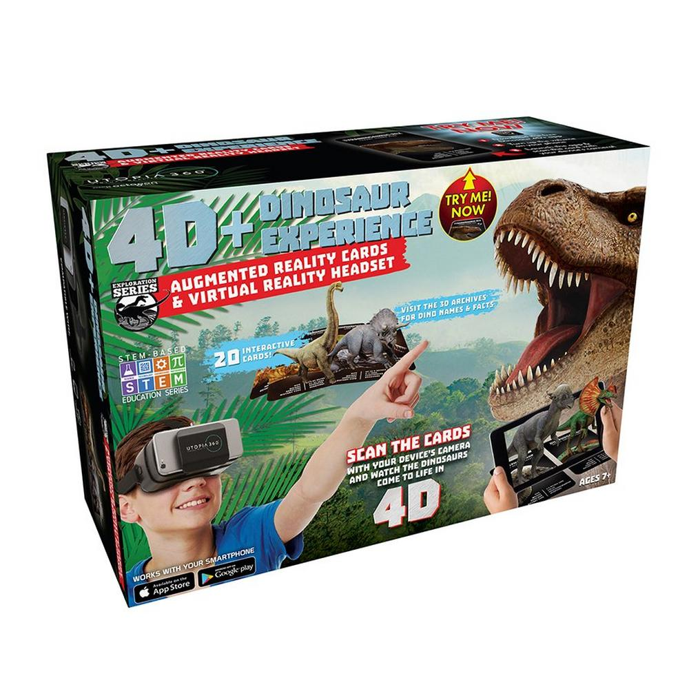 4D+ Utopia 360 Dinosaur Experience: Augmented Reality Cards & VR Headset |  GameStop