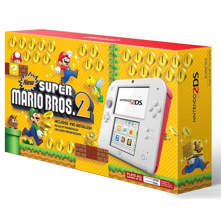 Nintendo 2DS Scarlet Red with New Super Mario Bros 2 Bundle