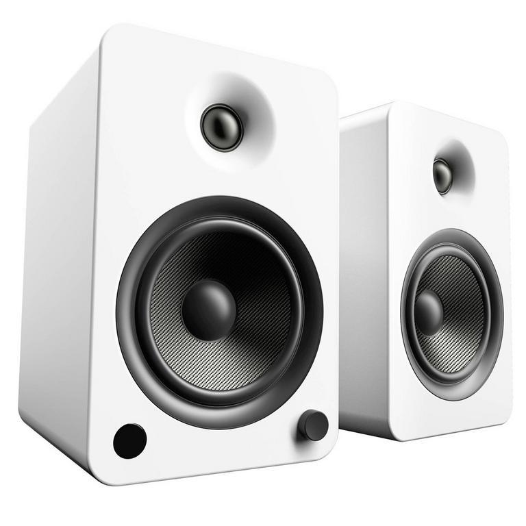 YU6 White 2-Way Powered Bookshelf Speakers