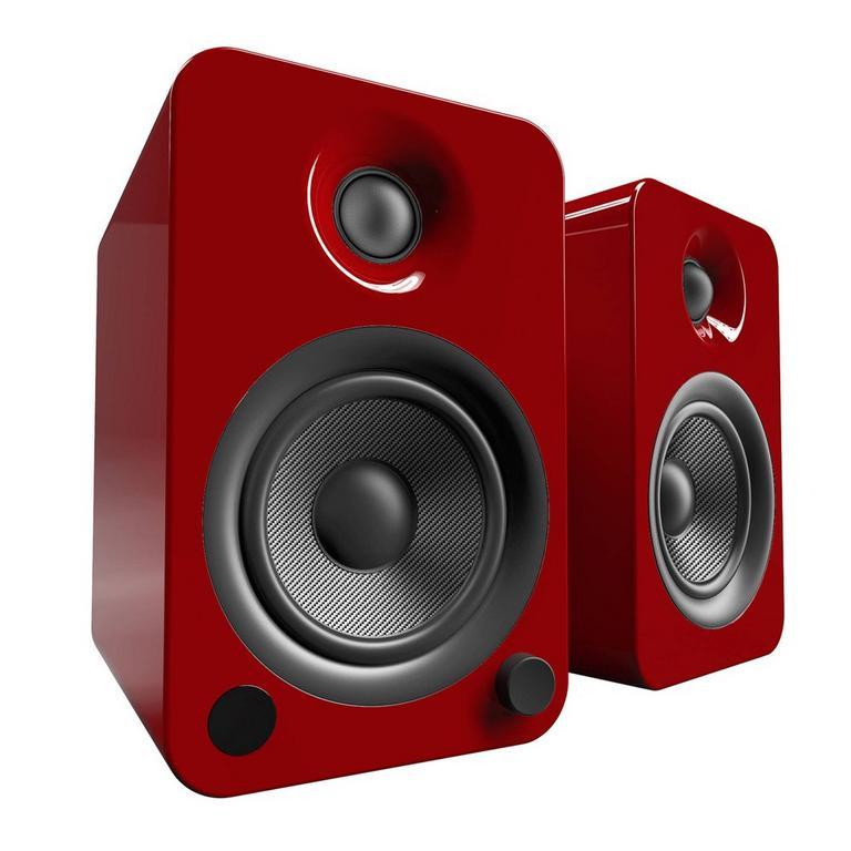 Kanto Living YU4 2-Way Powered Bookshelf Speakers Pair - Crimson