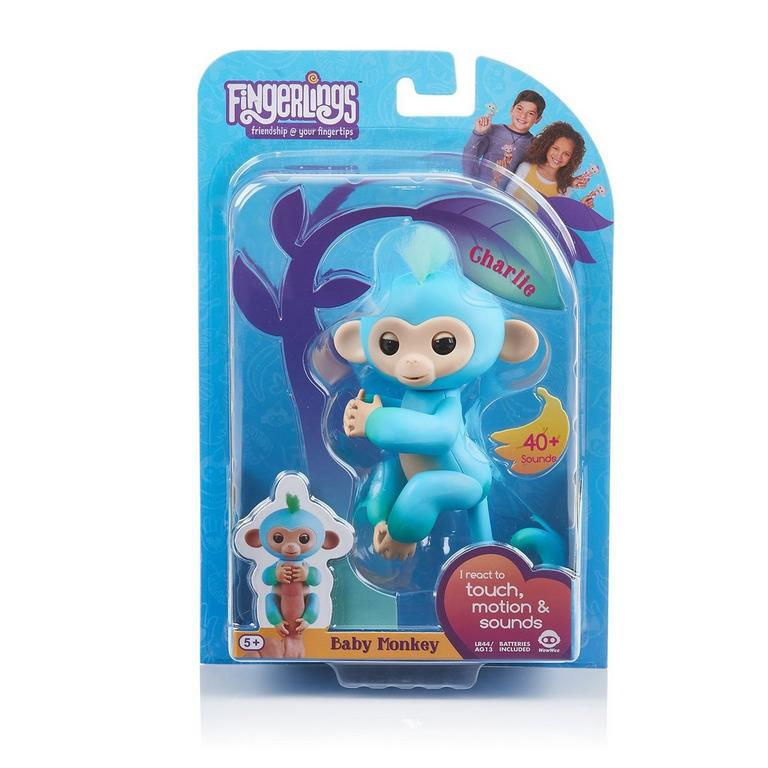 Fingerlings: Interactive Baby Monkey - Charlie (Blue with Green Hair)