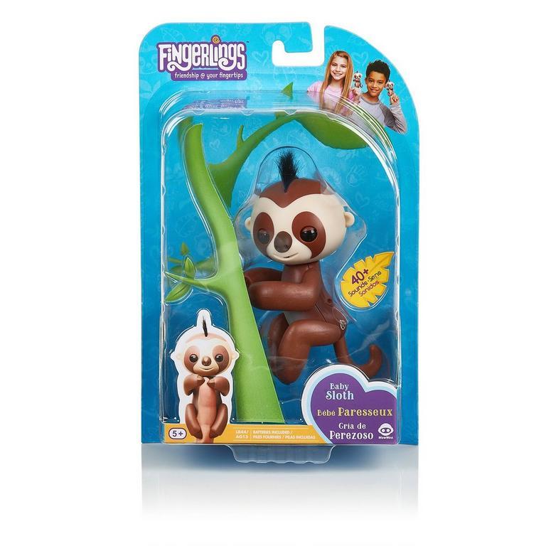 Fingerlings: Interactive Baby Sloth - Kingsley (Brown with Black Hair)