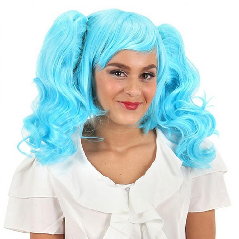 Anime Pigtails Wig Blue