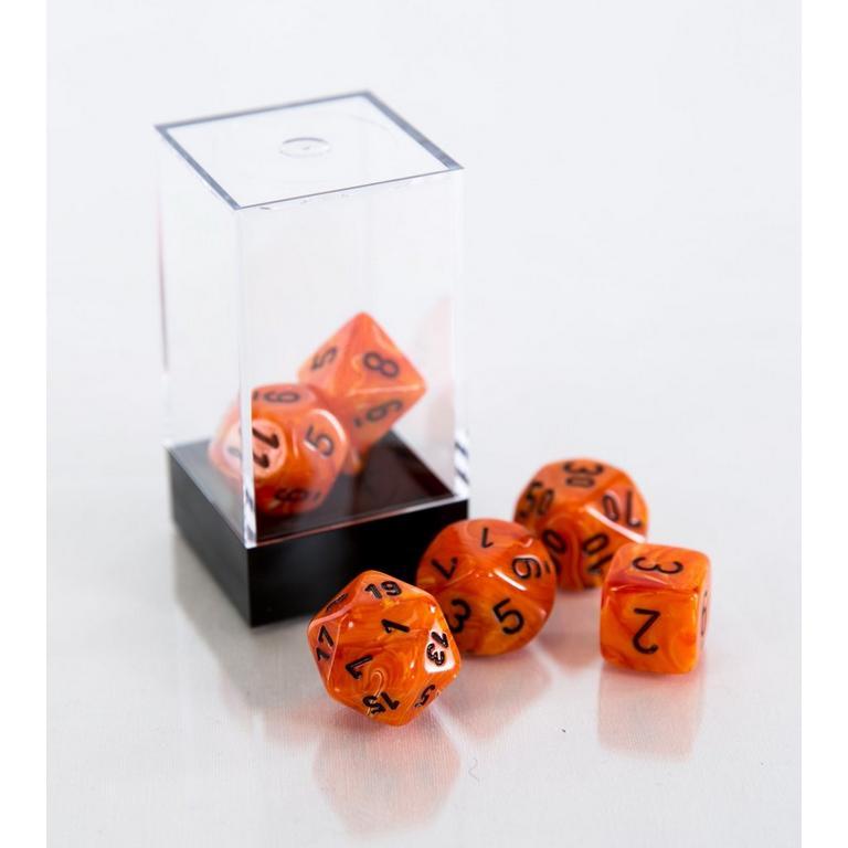 Vortex Orange and Black Polyhedral 7-Die Set