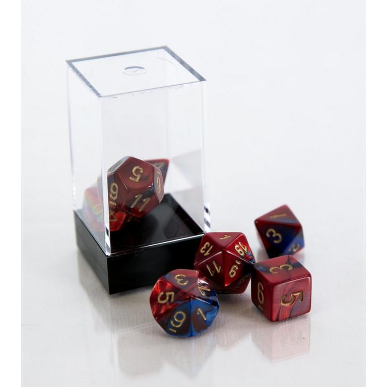 Gemini Polyhedral 7-Die Set - Blue and Red with Gold (Dungeons & Dragons)