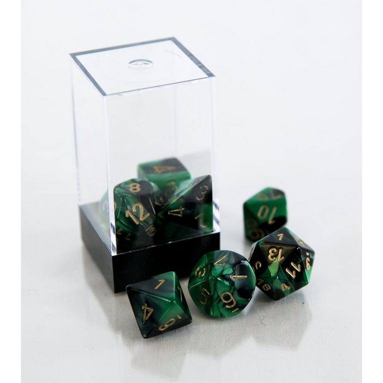 Gemini Polyhedral 7-Die Set - Black and Green with Gold (Dungeons & Dragons)