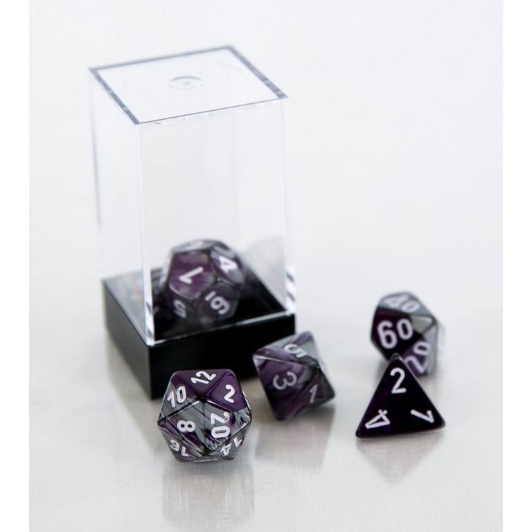 Gemini Polyhedral 7-Die Set - Purple and Steel with White (Dungeons & Dragons)