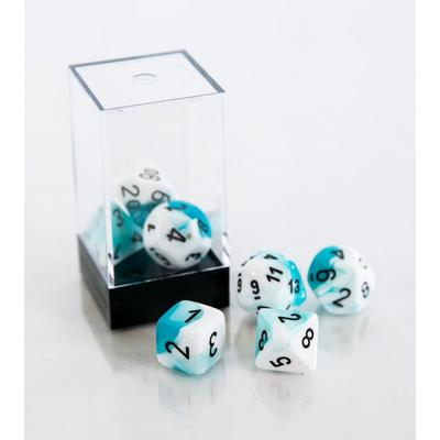 Gemini Polyhedral 7-Die Set - Teal and White with Black (Dungeons & Dragons)