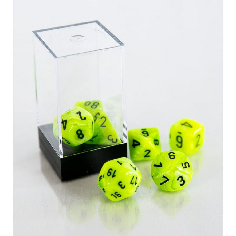 Vortex Polyhedral 7-Die Set - Bright Green and Black (Dungeons & Dragons)