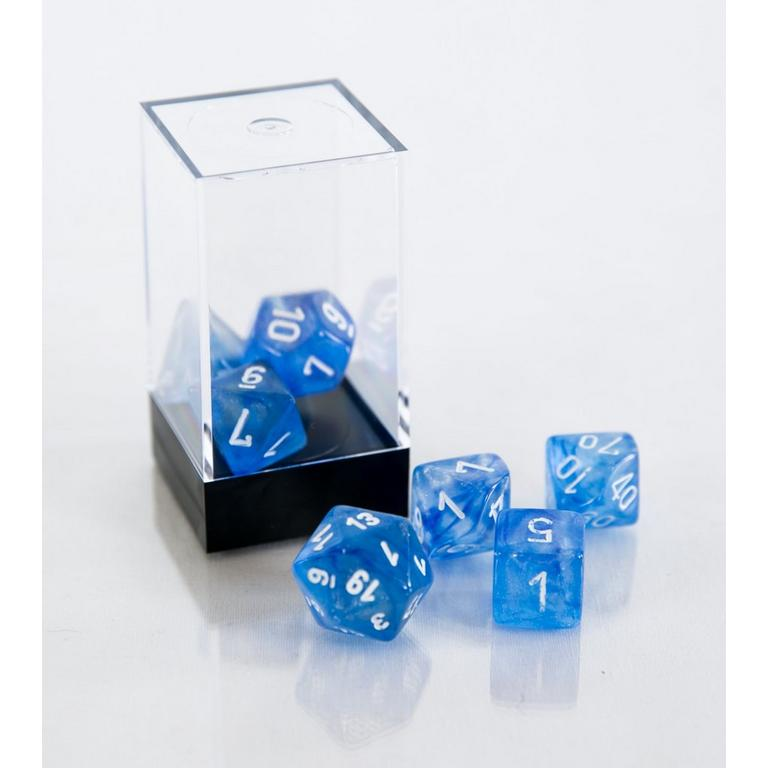 Borealis Polyhedral 7-Die Set - Sky Blue and White (Dungeons & Dragons)