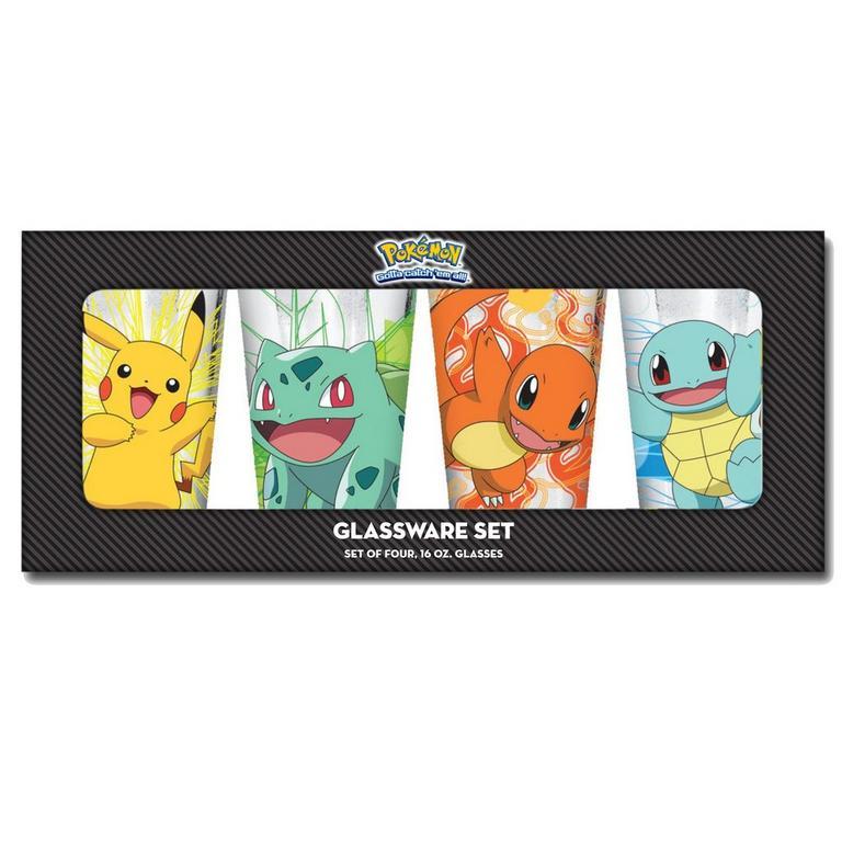 Pokemon Kanto Starters Pint Glass 4 Pack