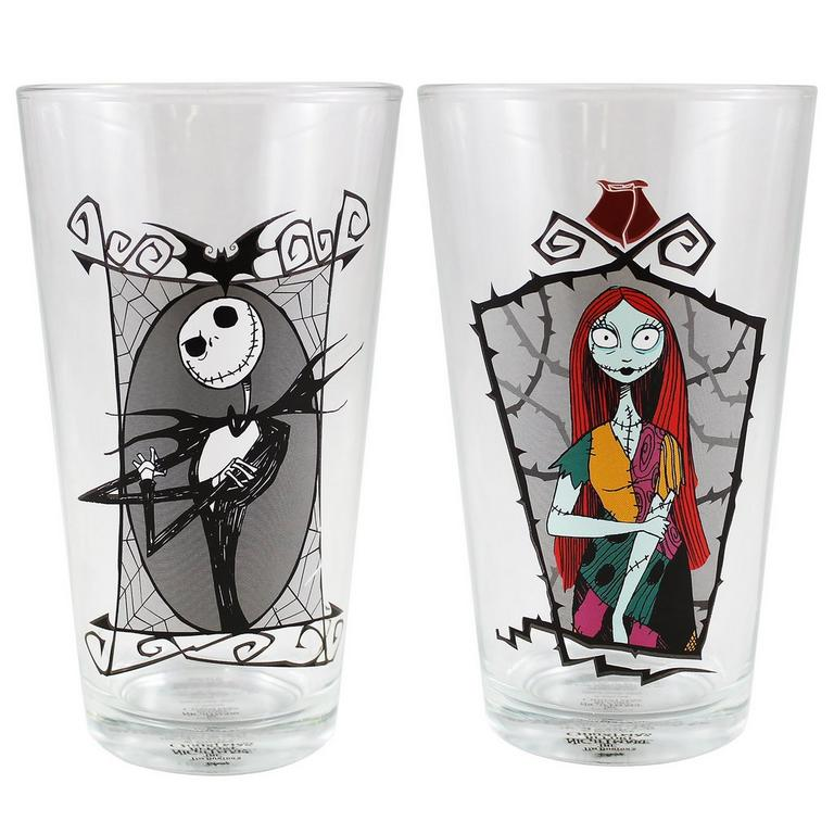 The Nightmare Before Christmas Jack and Sally Pint Glass 2 Pack