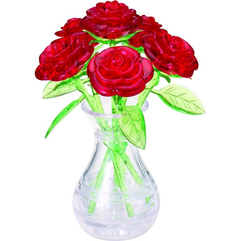 Crystal Red Roses in Vase Puzzle