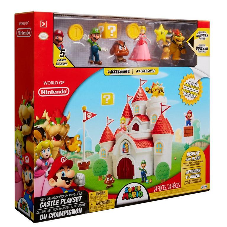 Super Mario Bros Deluxe Mushroom Kingdom Castle Playset Gamestop