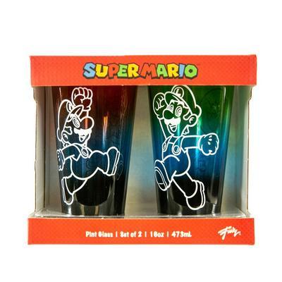 Super Mario Bros. Mario and Luigi Pint Glass 2 Pack