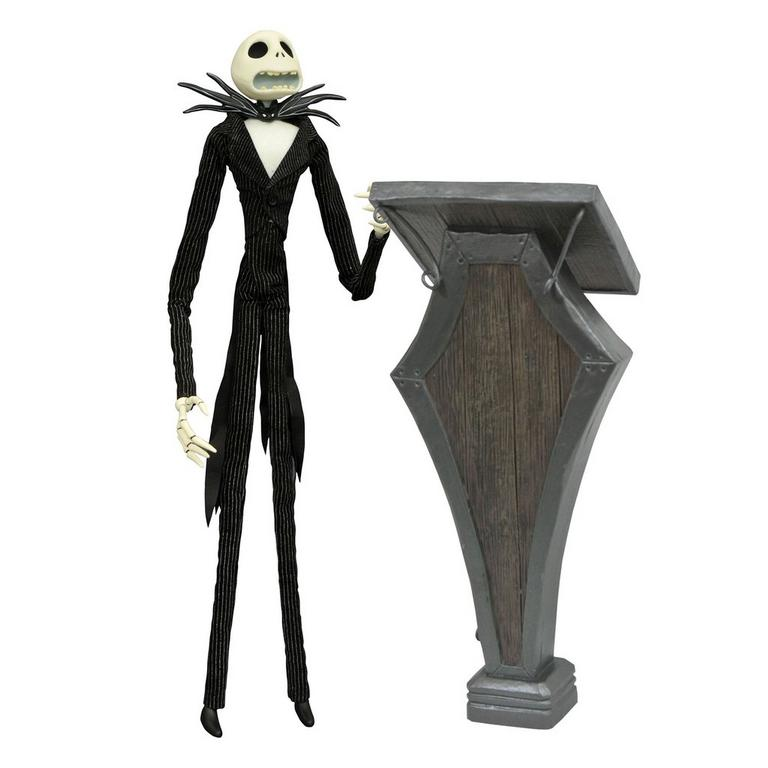 The Nightmare Before Christmas Jack Skellington with Podium Deluxe Coffin Doll