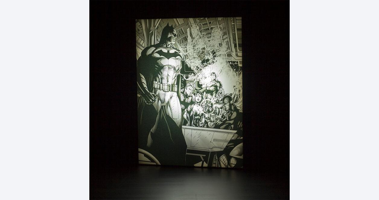 Batman With Justice League By Jim Lee Light Up Canvas Wall Art Gamestop