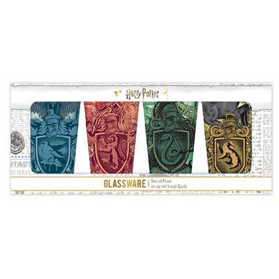 Harry Potter Hogwarts House Pint Glass 4 Pack 16oz
