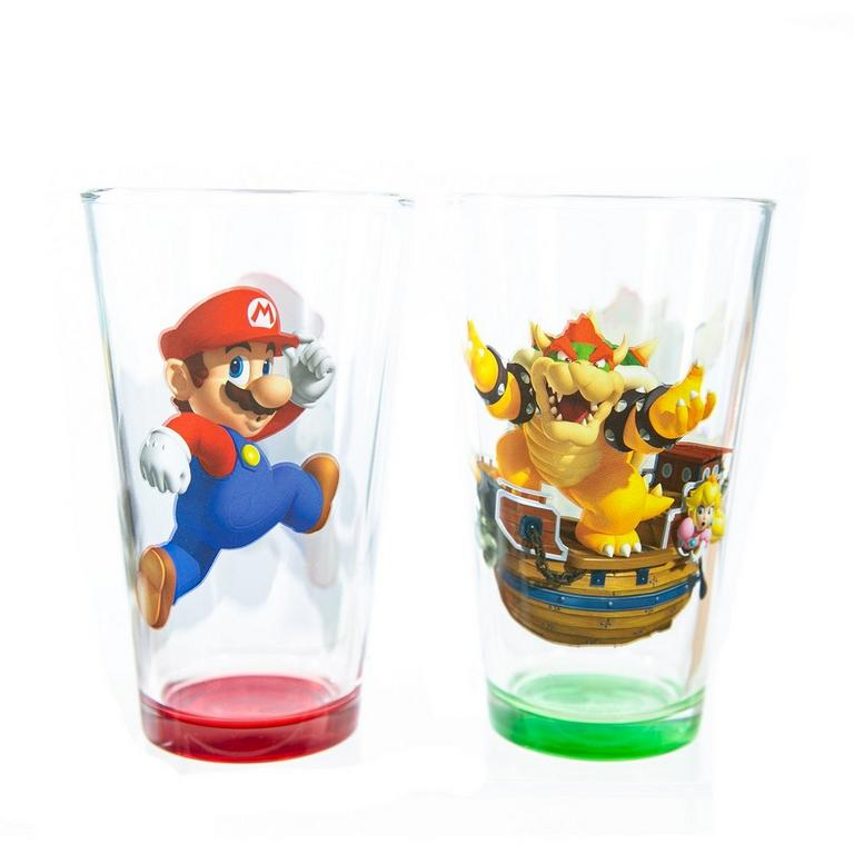 Super Mario Bros. Mario and Bowser Pint Glass 2 Pack