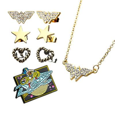 DC Wonder Woman Earrings and Pin Set