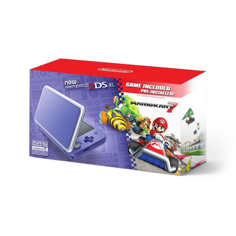 Nintendo 2DS XL Purple and Silver Mario Kart 7 Bundle