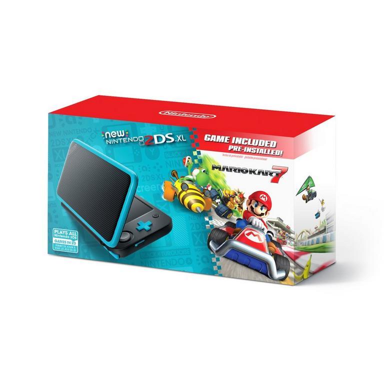 Nintendo 2DS XL Black and Turquoise Mario Kart 7 Bundle
